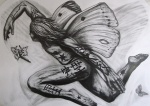 'Butterfly Nebula' Side Panel ~ Graphite on Paper