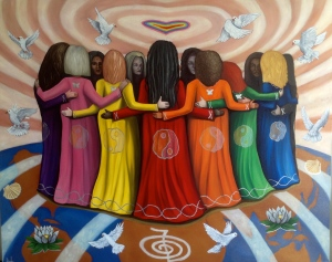 This painting by Nazim Artist is entitled, Femme Women Healing the World