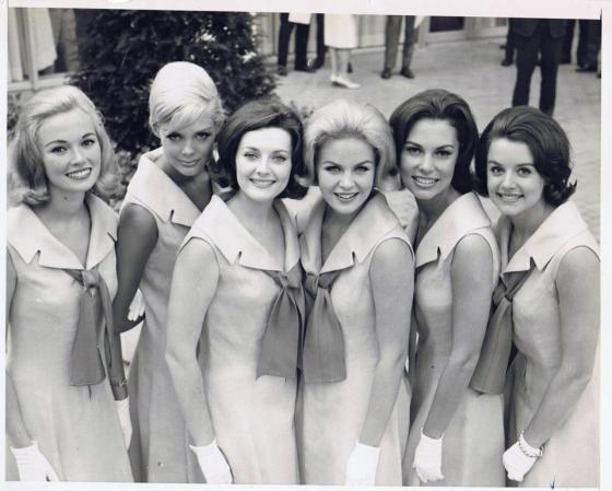 The final 6 contestants campaign in 1963 for the title of Miss Rheingold 1964. I am the third from camera left!