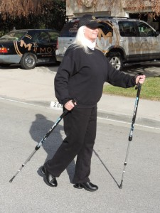 Celeste Yarnall in Z-Coil walking shoes with BungyPump walking poles!