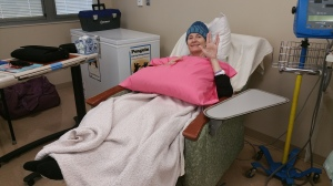 Here I am at the infusion center for one of my 6 rounds of chemotherapy